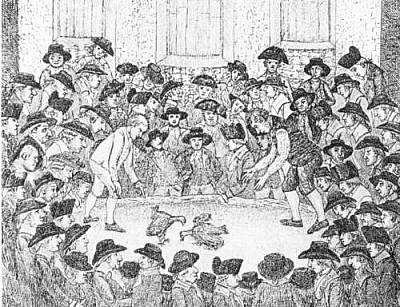 Cockfighting at an Edinburgh pit, 1785. The first book on the sport in Scotland was published in 1705 and soon became popular in many parts of the country.